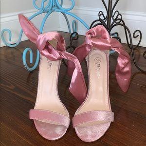 nasty gal pink top knot heels